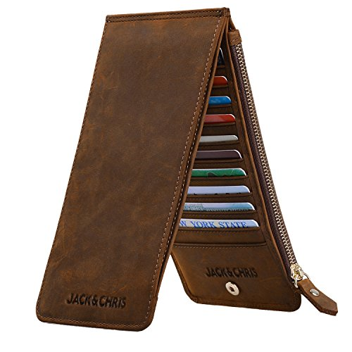 Jack&Chris Leather Multi Card Organizer Wallet Credit Card Holder Thin Wallet with Zipper Pocket,MBNM026