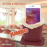 Upright Eyeglass Holder & Stand - Jumbo Sized Plush Lined Protective Case for Nightstand, Desk and Bedside Table - Black - By OptiPlix