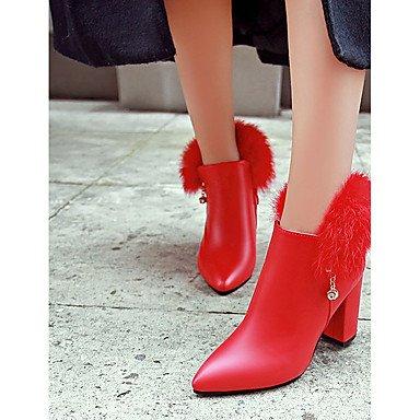 RTRY Zapatos De Mujer Pu Otoño Invierno Botas De Combate Botas De Tacón Bloque Señaló Toe Botines/Botines Casual De Cremallera Gris Negro Rojo US6 / EU36 / UK4 / CN36