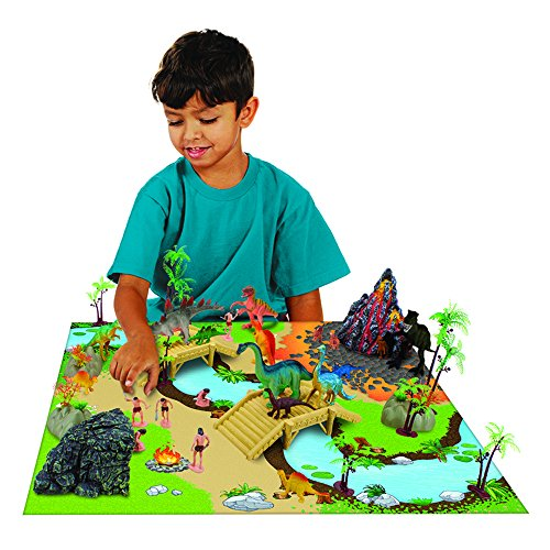 Imagination Generation 100 Piece Jurassic Dinosaur and Cave Man Prehistoric Playset | Includes Play Mat, Storage Containter, Volcano, Bridges, and Plants | Educational Booklet Packed In with Each Set