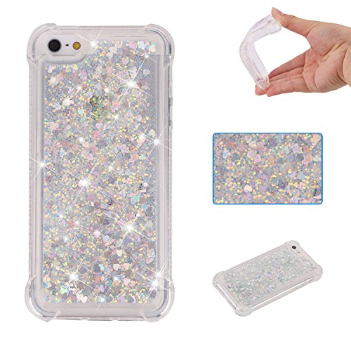 Urberry Iphone 5/5s/SE Case,Running Glitter Cover, Shock-proof Floating Luxury Bling Glitter Sparkle Soft Case for iPhone 5/5S/SE (Silver) (Design Case Silver Stars)