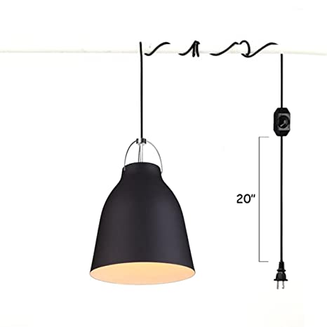 Kiven Plug In Metal Pail Wall Sconces 1 Light Pendant Lighting E26 Base Dimmable Lamp 15 Foot Black Cord With Dimmer Switch Bulb Not Included Ul