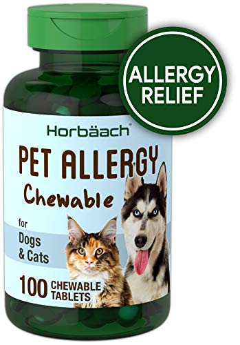 Horbaach Pet Allergy Max Relief 100 Chewables Tablets | Seasonal Alleries, Immune Support and Digestive Probiotics | Non-GMO and Gluten Free | Natural Beef Flavor Medicine for Cats & Dogs ()
