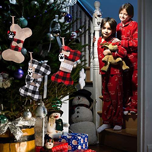 Yostyle Pet Dog Christmas Stockings Set of 3,Buffalo Plaid 18\