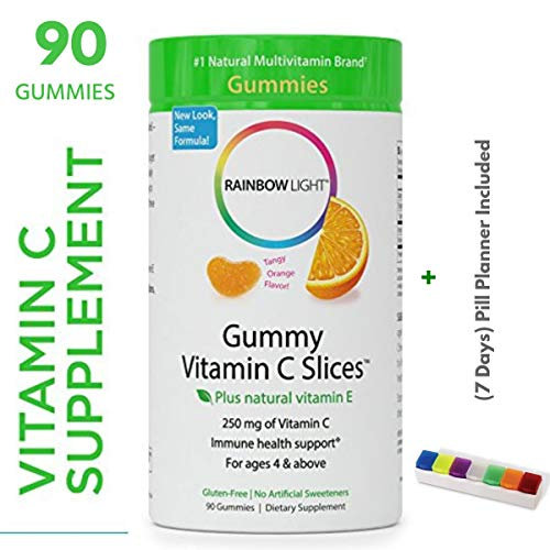 Rainbow Light - Gummy Vitamin C Slices With Natural Vitamin E Tangy Orange Flavor (90 Gummies + Pill Box) - Supports Immune Health, Provides Antioxidant Protection - Gluten Free - -