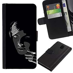 Caso Billetera de Cuero Titular de la tarjeta y la tarjeta de crédito de la bolsa Slot Carcasa Funda de Protección para Samsung Galaxy Note 3 III N9000 N9002 N9005 Black & White Sm