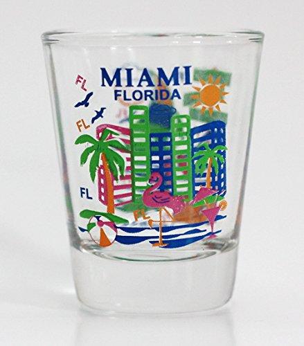 Miami Florida Attractions Collage Shot Glass Miami Glass