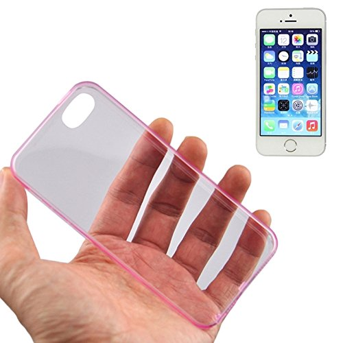 Mxnet 0.45mm Ultra-dünne Polycarbonat Material TPU & Jelly Case für iPhone 5 & 5s & SE rutschsicher Telefon-Kasten ( Color : Pink )