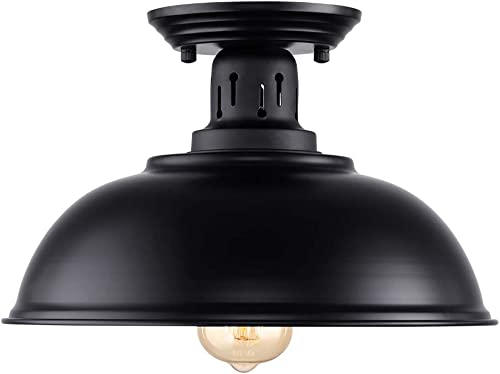 HMVPL Semi Flush Mount Ceiling Light Fixture, Farmhouse Black Close to Ceiling Lighting Industrial Decor Lamp for Kitchen Island Bedroom Living Room Foyer Hallway Entryway Office Closet