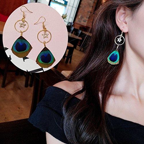 (HJPRT korea bohemian peacock feather earrings earings dangler eardrop fairy long creative tassel pearl women girls (e1850 (crystal star) single feather)