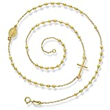 Religious Necklaces-Thicker Rosary Necklace 16.5'' Inches Crafted in 14KY Gold