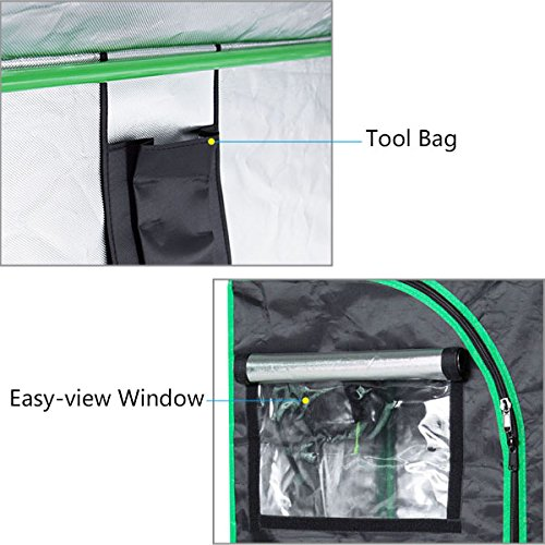 "51JEYRirqRL - Quictent SGS Approved Eco-friendly 48""x24""x72"" Reflective Mylar Hydroponic Grow Tent with Heavy Duty Anti-burst Zipper and waterproof Floor Tray for Indoor Plant Growing 4'x2'"
