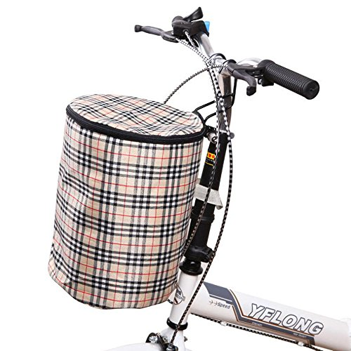 Ezyoutdoor Bicycle Basket Bike Front Handlebar Bag Detachable Cycle Front Basket Carrier Bag Steel Frame Bicycle Pannier Random Color by ezyoutdoor