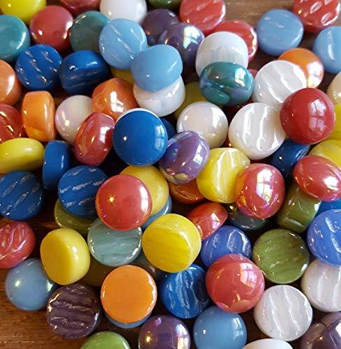 Glass Gems Mosaic Tiles - 100 Optic Drops Mosaic Glass Tiles - Mixed Rainbow Bag - 12mm Multicolor Luster Gems Combo Mix