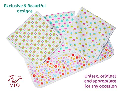 Baby Burp Cloths, Premium Quality, 4 Pack Exclusive Unisex Design, Large Size 21''x10'', 100% Organic Cotton, Thick & Absorbent, Triple Layer, Super Soft, Burping Rags for Newborns, Gift Set by Vio by Vio (Image #4)