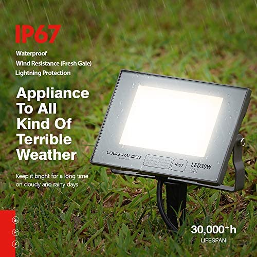 Solar Flood Light Outdoor,IP67 Waterproof 4000K 2400 Lumens Spotlight 6 Hours Charging Time 36 Hours Working Time for Patio Porch Path Yard Garden Garage Driveway Pathway