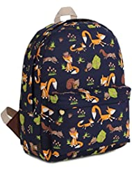 Gumstyle Canvas Travel School Bag Backpack Rucksack Fox Black