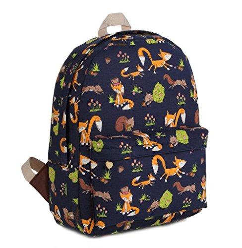 Gumstyle Canvas Travel School Bag Backpack Rucksack Fox Black