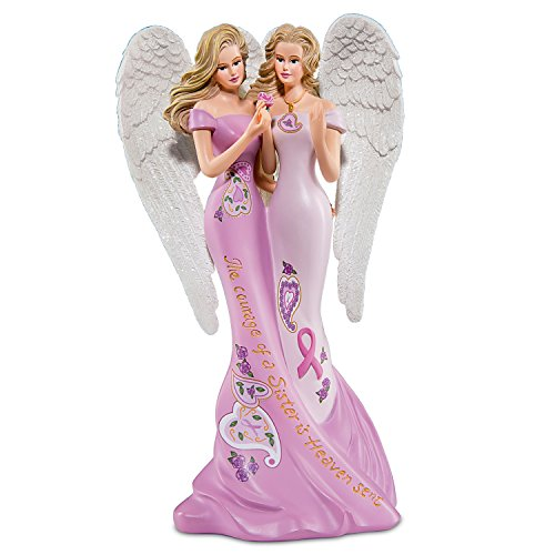 Thomas Kinkade Breast Cancer Awareness Sister Angel Figurine with Glitter Wings by The Hamilton Collection