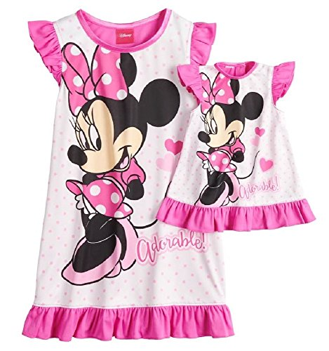 Adorable Mouse - AME Disneys Minnie Mouse Adorable Dorm Nightgown & Doll Nightgown (4T), Pink