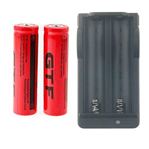 EastVita GTF 2pcs 3.7V 18650 Led Flashlight 9900mAh Li-ion Rechargeable Battery add Charger (Light 9900)