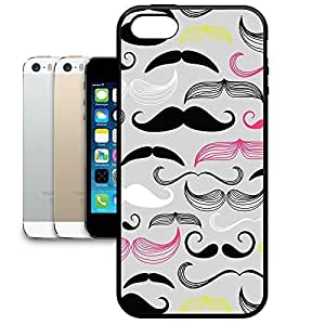 Bumper Phone Case For Apple iPhone 5/5S - Hipster Neon Mustaches Snap-On Premium by lolosakes