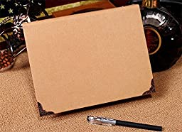 Chris-Wang 1Pc Recycled Chipboard Kraft Paper 6 Round Rings Binder Cover File Folder DIY Album with Metal Corner Guard, 175x235mm(A5 Size)