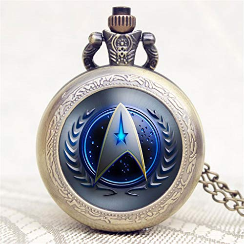 jklek Star Trek Theme 3 Colors Pocket Watch with Necklace Chain Fob Watch A from jklek