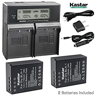 Kastar LCD Dual Fast Charger & 2 x Battery for Olympus BLH-1 BLH1 and Olympus OM-D OMD E-M1 Mark II EM1 MARKII MARK2 Cameras