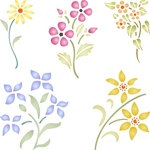 "Floral Set Stencil - (size 5""w x 5""h) Reusable Wall Stencils for Painting - Best Quality Flower Template Ideas - Use on Walls, Floors, Fabrics, Glass, Wood, and More… (Board Flowers Painting)"