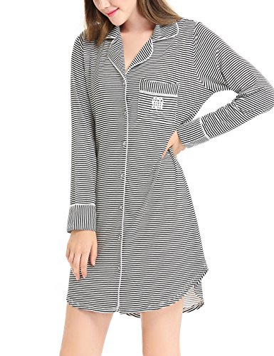 Women Comfy Long Sleeve Pajama Button Down Black Striped Sleep Shirt Dress by Nora TWIPS(Black Striped,XL)