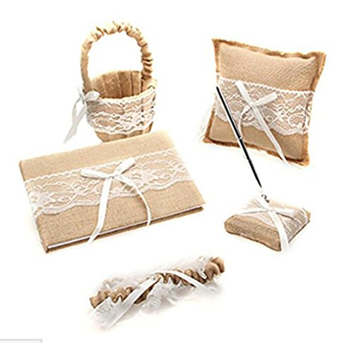 5pcs Sets Wedding Guest Book +Pen Set +Flower Girl Basket + Ring Pillow ,+1 Garter Cover,Double Heart Rhinestone Elegant Wedding Ceremony Set for Wedding Decoration Supplies