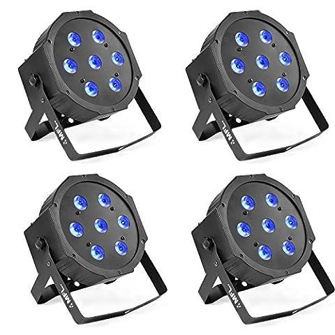MFL 7X10W RGBW LED Par Lights DMX Par Can Light Wash Effect Sound Activated Modes for Stage DJ Lighting Party Wedding Church 4 - Stage Lighting Package