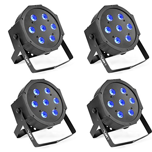 Par Lights, MFL. 7X10W RGBW Stage DJ Lighting LED DMX Par Can Light Party Lights DJ Disco Lights Wash Effect Sound Activated Modes for Party Wedding Church 4pcs
