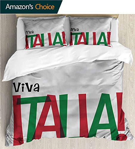 (VROSELV-HOME Bedding Bedspread,Box Stitched,Soft,Breathable,Hypoallergenic,Fade Resistant Colorful Floral Print -3 Pieces-Italian Flag Viva Italia Quote (80