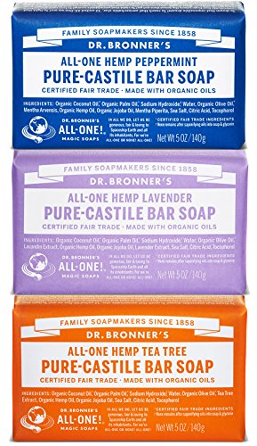 Dr. Bronner s Magic Soaps Pure-Castile Soap, Variety Pack, 5-Ounce Bars Pack of 3 Peppermint – Lavender – Tea Tree
