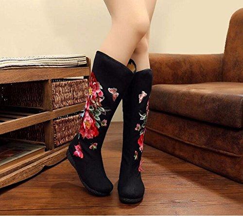 Viejo 36 Bordado Plana Legged Tela Botas Long Zapatos Zapata De Zapatos La De De KHSKX Negro Tela Solo 37 Chino Étnico Origen Pekín Mujer Ventilador Zapatos De nw8xS0E6