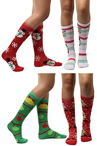 4 Pairs Christmas Holiday Knee High Socks,Assorted Colors & Designs Womens Size: 9-11 (Style 3)