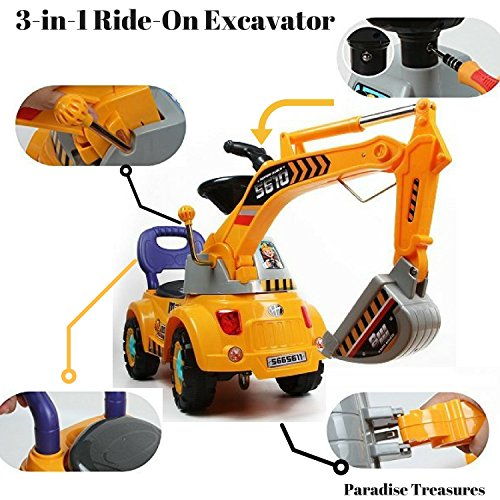 3-in-1 Ride-On Toy Digger scooter, Ride-on excavator, Pulling
