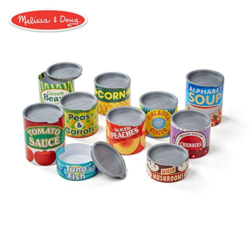 - Melissa & Doug Let's Play House! Grocery Cans, Pretend Play, Pop-Off Lids, Sturdy Cardboard construction, 10 Cans, 13