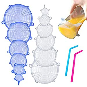 Silicone Stretch Lids by HouseHoldHelpers [12 Pack of Various Sizes] with Bonus Reusable Silicone Straws! Reusable, Expandable and Durable BPA Free Replacement for Plastic Cling Wrap. Oven, Microwave, Fridge and Freezer Safe.
