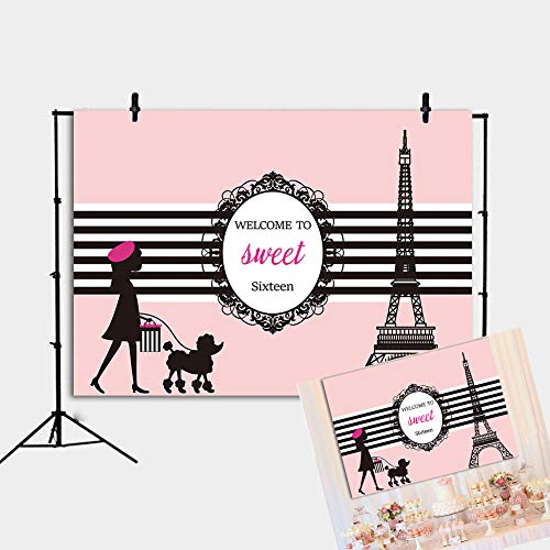 RUINI Sweet 16 Years Old Pink Girl Adult Ceremony Party Decoration Backdrop Paris Eiffel Tower Theme Poster Backdrop 7x5FT