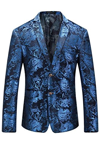MY'S Men's Luxury Casual Dress Floral Suit Notched Lapel Slim Fit Stylish Blazer Blue on Black (Blue Blazer Black)