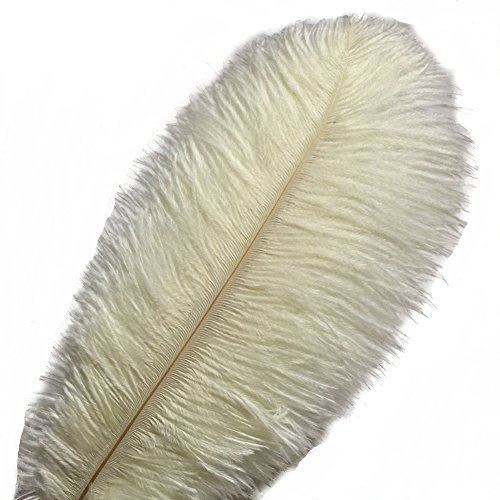 KOLIGHT 100pcs 12~14(30~35cm) Natural Ostrich Feathers for DIY Home Wedding Party Office Decoration (Ivory)