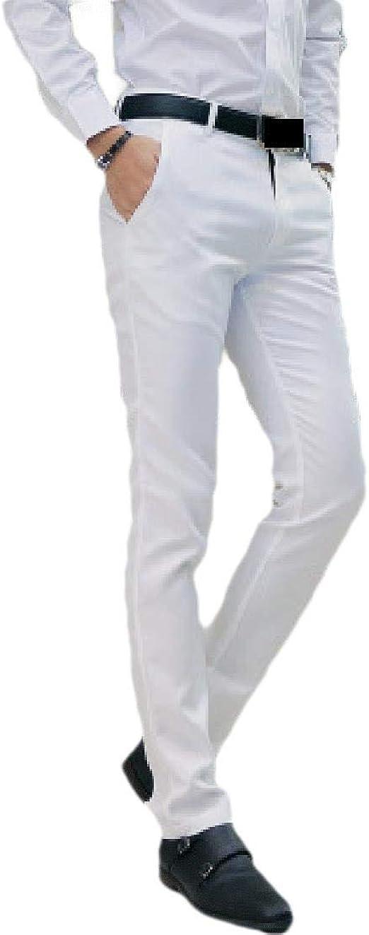 cheelot Men's Casual Straight-Fit Fit Cotton Business Plain-Front Dress Pant