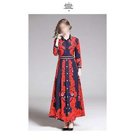 Lorachun falda larga estampada en color rojo con solapa francesa ...