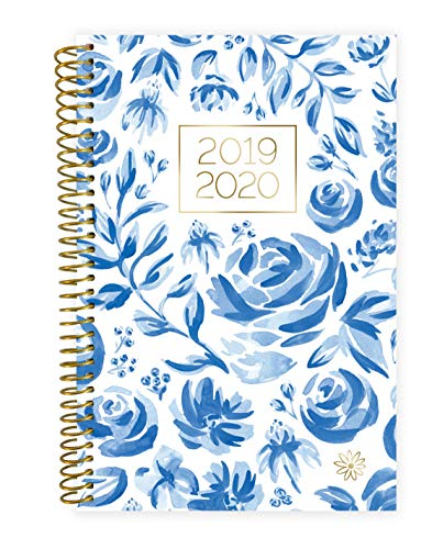 "bloom daily planners 2019-2020 Academic Year Day Planner - Passion/Goal Organizer - Monthly and Weekly Dated Calendar Agenda Book - (August 2019 - July 2020) - 6"" x 8.25"" - Blue & White Floral"