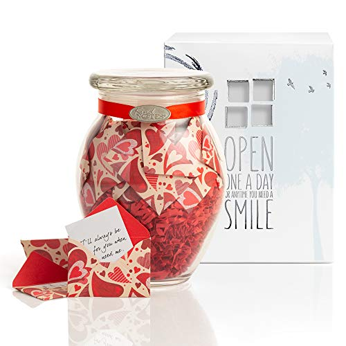 KindNotes Glass Keepsake Gift Jar with Long Distance Missing You Messages (for Couples) - Heart Garden (Best Message For Long Distance Relationship)