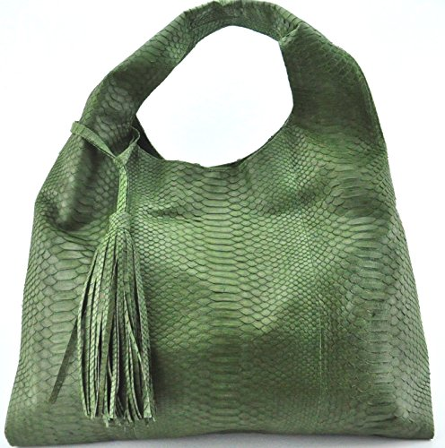 Skin Hobo Handbag Green Army (Exotic Skin Handbags)