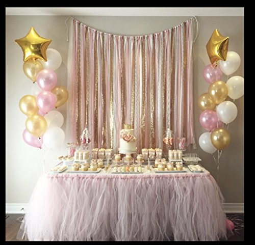 Fabric garland backdrop -5x6- Pink & Gold event backdrop garland - fabric, lace, sequin by ohMYcharley